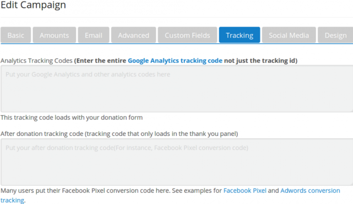 donorbox tracking