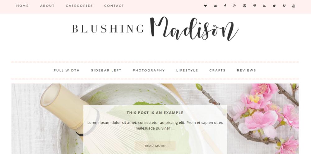 Blushing Madison – 3rd Party Genesis Framework Theme