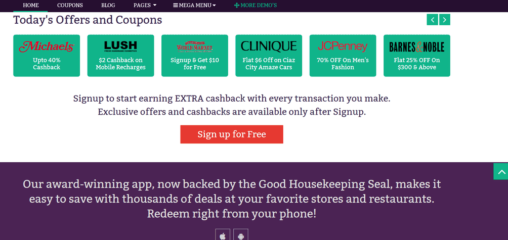 Coupon Custom Homepages