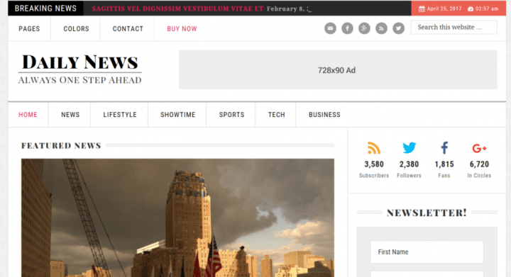 Daily News – 3rd Party Genesis Framework Theme