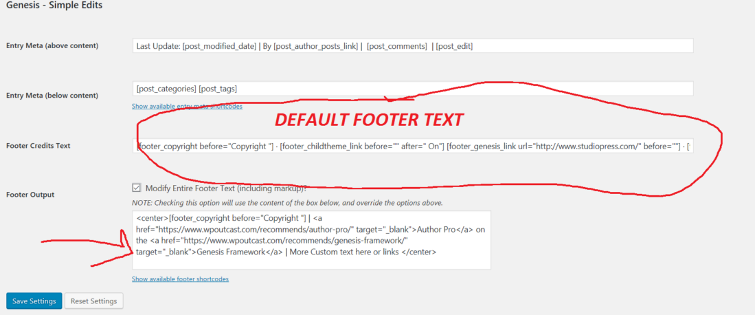 Edit Footer Text