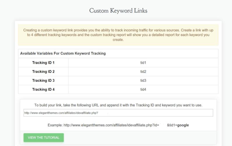 Elegant keyword tracking
