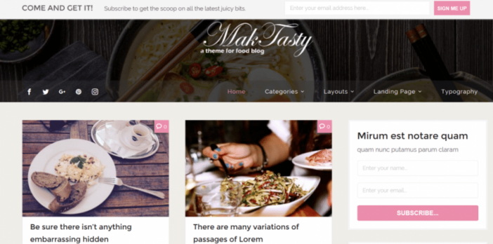 Maketasty Theme