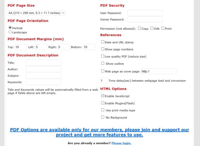 PDF select Options