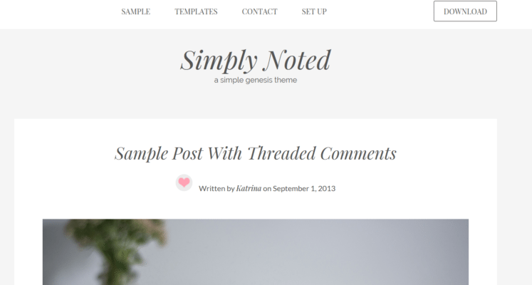 Simply Noted – 3rd Party Genesis Framework Theme