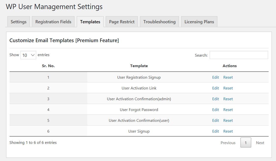 User management template