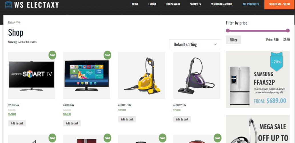 WS Electaxy Shop Page
