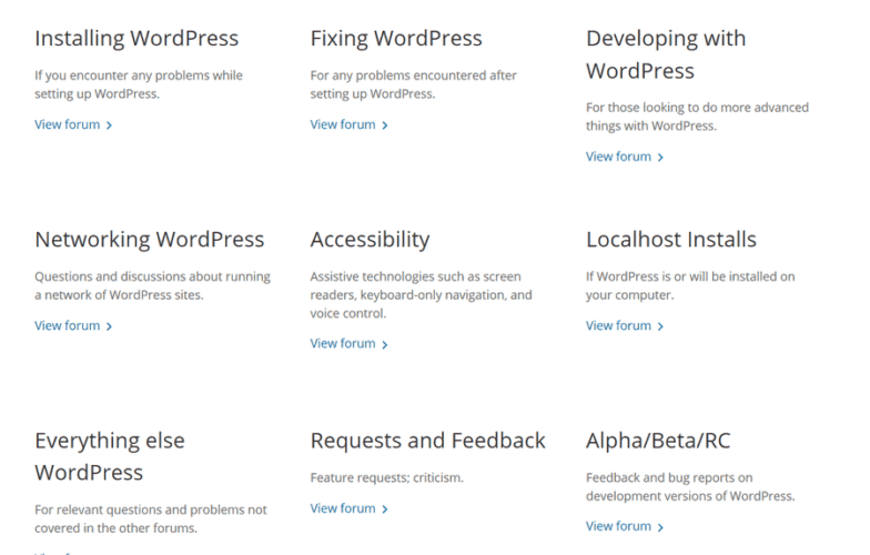 WordPress Forums