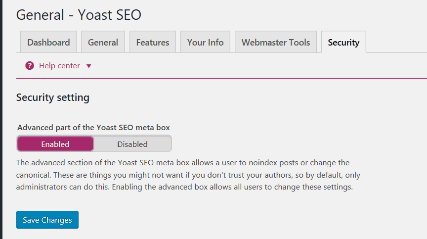 Yoast Security Tab
