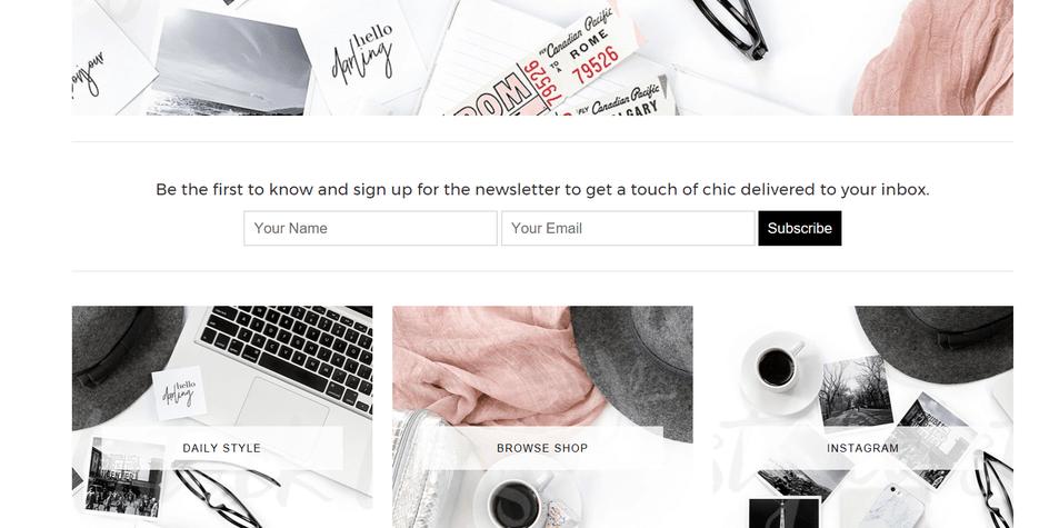 adelle homepage look