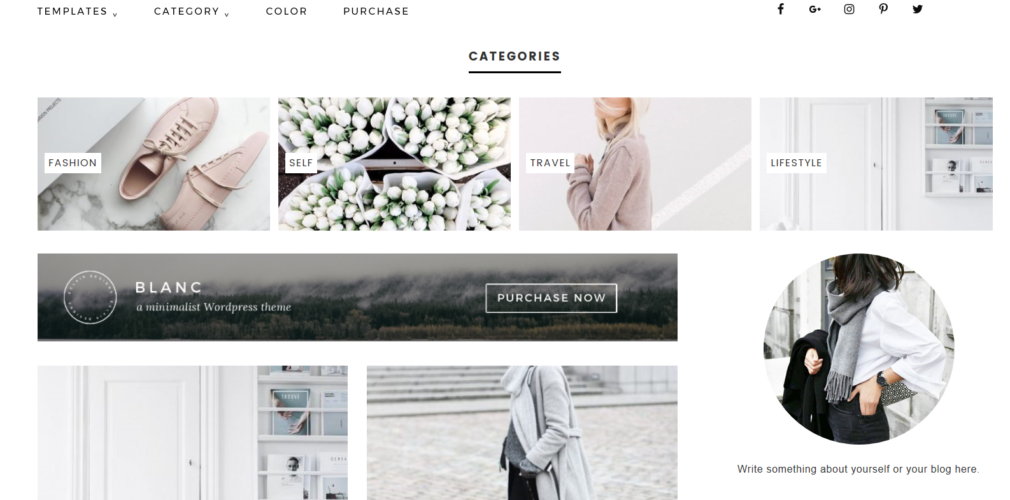 blanc homepage widgets