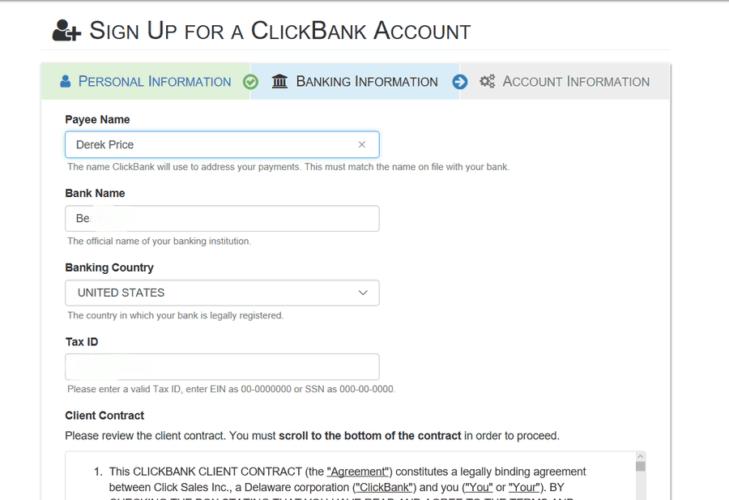 clickbank bank details