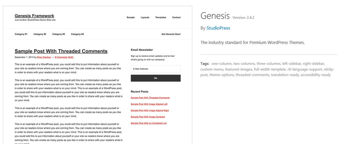 genesis framework version number