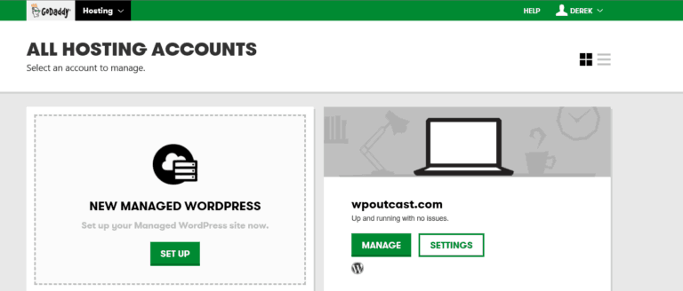 GoDaddy Setup. Click on the Setup button. Next, click on Create a new WordPress site.