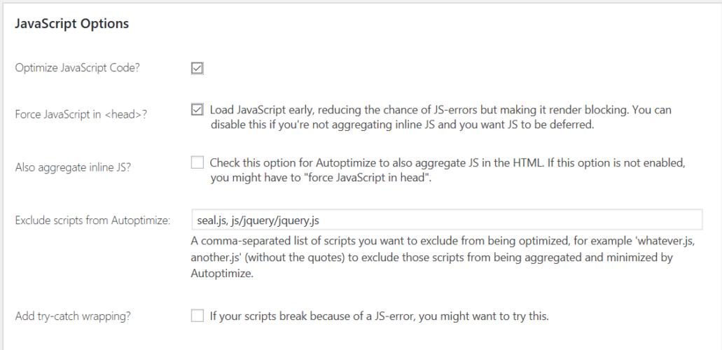 javasript settings