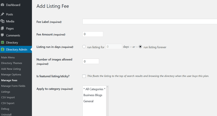 listing Fee's
